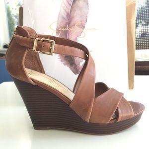 NIB Jessica Simpson leather wedge sandals